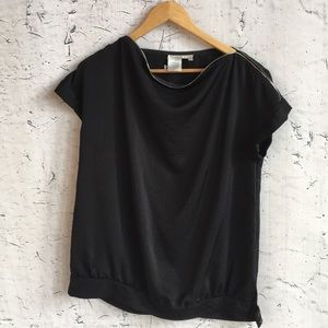 FRED DAVID BLACK ZIPPER BLOUSE M